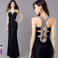 2014 Charming Beading V-neck Elegant Prom Dresses Long Formal Party Dress