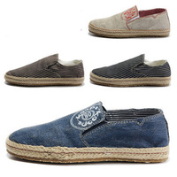 Famous Brand Loafers Flat Lovers Fashion Denim Sneakers Men Skateboard Shoes Round Toe Slip On Hemp Sneakers Size 35-46