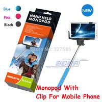 DHL 100sets (100pcs monopod +100pcs clip holder)Selfie Rotary Extendable Handheld Camera Tripod Monopod for iPhone Samsung