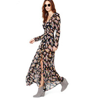 Sell! 2014 Women long section small floral print long sleeve chiffon dress free shipping