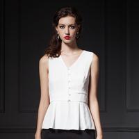 YIGELILA 7215 Custom V-neck Sleeveless Slim Ruffles Hem Women Chiffon Shirt Tops  Free Shipping