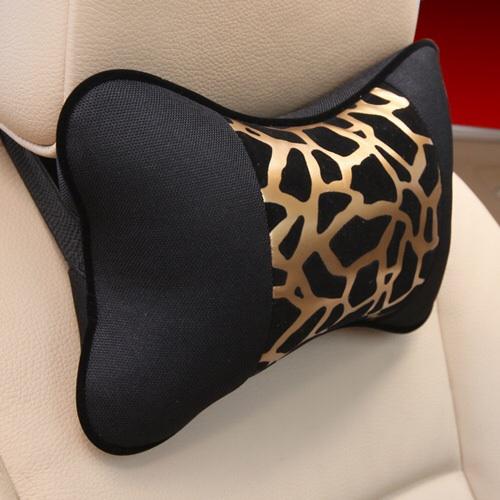 New 2 pcs genuine leather headrest neck pillow car auto seat cover head neck rest cushion jpg
