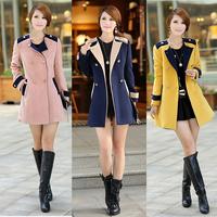 2014Autumn Fashion Plus size women clothing XXXL Slim Wool&Blends O-Neck Double Breasted Full sleeve Patchwork Coats&Jackets719O