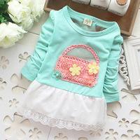 Free shipping! autumn 2014 new girls dress, Girl flower basket hem lace long-sleeved dress Baby Girl dress princess dress