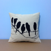 "18*18 "" Trendy Decorative Black & White Bird Print Throw Cushion Cover Pillow Case for Bedding Sofa Wedding Gifts"