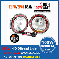 Free Shipping 2PCS 9'' 100W HID Driving light offroad, ATV truck,hid work light spot beam flood beam slim ballast HID Offroad