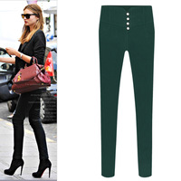 2014 New Autumn Winter Fashion Plus Size Skinny Pencil Pants Women High Waist Small Leg Button Fleece Thickening Trousers