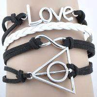 Hot sale 2014 NEW fashion black rope infinity love Harry Potter Deathly Hallows leather bracelet charm bracelet