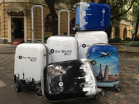 28'' I Fly the world Pattern ultra-light Trolley luggage white series aircraft wheel trolley luggage