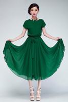 New 2014 Summer  Women's elastic waist chiffon  dress loose batwing sleeve lengthen belt Beach dress plus size S-XXL 318