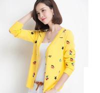 Cherry Embroidery Cardigan Knitted Sweaters 2014 Women fashion Tricotado Blusas Femininas Inverno Korean Style Bolero SS14C009