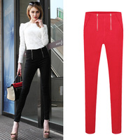 2014 Autumn Winter Women Cotton Fashion Slim Skinny Small Leg Pencil Pants Fleece Thickening High Waist Zipper Plus Size Trouser