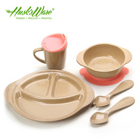Rice husk material child dish tableware baby dish food supplement suction cup bowl dinnerware set of 5pcs