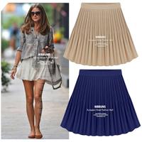 2014  New Vintage high waist pleated chiffon bag big skirt female bust skirt 3color  plus size  S- XL 178