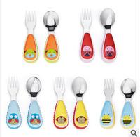 Hotsell Portable Children Cartoon animal zoo Tableware Plastic Handle Stainless Steel School Tableware baby Fork Spoon Utensils