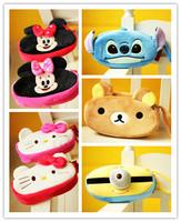 Free Shipping plush toys theme series Hello Kitty pencil case Rilakkuma Stitch Coin Purse. Mickey Minnie double zipper key cases