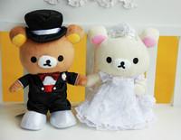 Lovers Wedding Rilakkuma plush toys, wedding car decoration one pair Rilakkuma doll, couple gifts, baby toys, Free Shipping