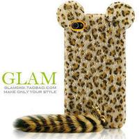Cute 3D Cute Cat TPU Leopard Print Plush Tail Skin back Cover Phone Case for iphone 5 5S