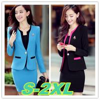 S-2XL size office wear suits women 2014 new slim plus size women work wear office uniform skirt suit free shipping