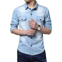 Plus size 2014 new autumn mens jeans shirts casual slim fit denim men shirt long sleeve camisa jeans roupas masculinas M-5XL
