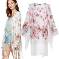 2014 New arrivals Ladies' elegant floral print tassel Kimono loose non-button coat cardigan casual outerwear brand design tops