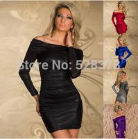 2014 New One-Shoulder Slim Woman Dress Sexy Mini Long Sleeved Autumn New European Basic Dress Inner Dressing Clothing Dress t629