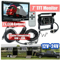 "Full Truck Trailer Reversing Kit 7"" TFT LCD Car Monitor Backup CCD Waterproof IR Camera 12-24V DHL Shipping"
