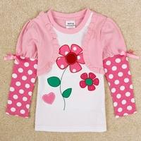 NEAT new 2014 baby girls t shirt children T-shirts flower cartoon long sleeve clothing kids wear 1-6Y