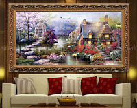 Needlework,DIY DMC Cross stitch,Sets For Embroidery kits,Precise Printed House In The Garden Patterns Counted Cross-Stitching