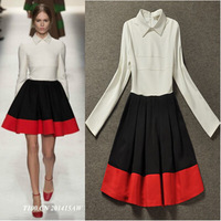 Free Shipping ! 2014 Early Autumn New Fashion Runway Brand Elegant Contrast Color Long-Sleeve Mini Slim Shirt Dress