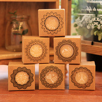 Free Shipping 6pcs/Lot Stamp South Korea Stationery Wholesale Dress Up 6 Round Wooden Stamp Seal Pattern Wood  Stamp