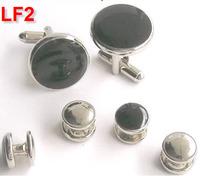 Via Fedex/TNT, Classic Men's Shirt Buttons Wedding Silver Tone Cufflinks classical cuff links Jewelry Decor 6PCS Set, 60SET