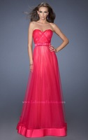 Hot Sell ! Long Strapless Tulle Designer Glamorous Evening Gown ,Formal Dress 2014 with a Bow at Waist