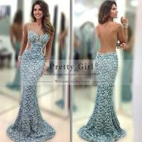 Vestido De Festa 2014 Boutique Lace Tank See Through Back Long Evening Party Dress Beading Neck Customer Made Mermaid Prom Dress