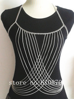 Women Body Full Metal Chain Jewelry 2014 Fashion Body Chain Harness Necklace Female Bodychain