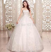 2014 new elegant lace sexy wedding dresses Drilling high-end luxury strapless gown fleabane princess wedding dress fashionable