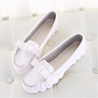 2014 new women flat shoes  women genuine leather shoes  bowtie Leisure shoes woman casual Doug shoes Drive House hold X335