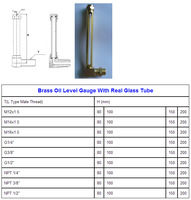 100mm Brass oil level gauge with real glass tube