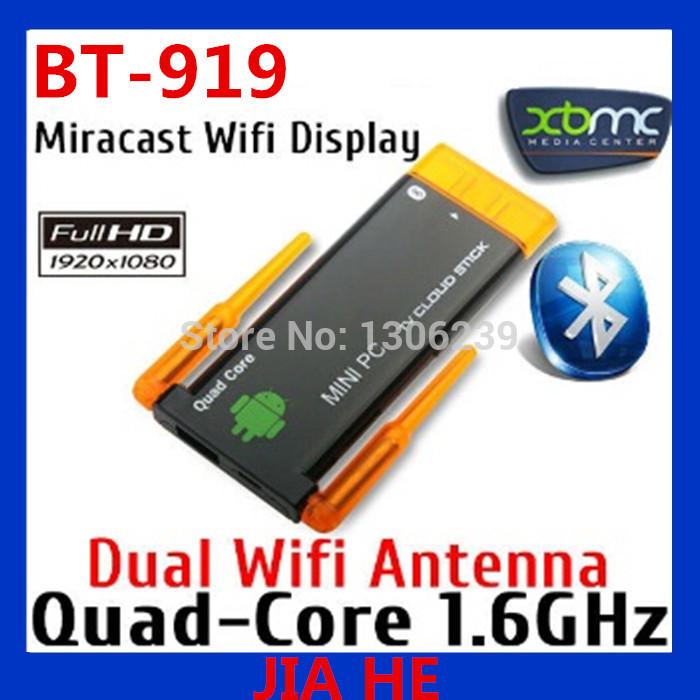 Quad Core Dual Wifi Antenna Bluetooth Android 4.2 Miracast Dongle Mini PC Stick TV Box Black Free Shipping(China (Mainland))