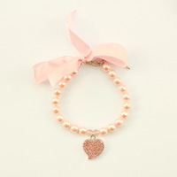 dreambows Handmade Dogs Cats Cute Ribbon Bow Rhinestone Heart Pendant Necklace 51007 Puppy Fashion Popular Jewelry
