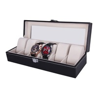 New Arrival Fashion 6 Grid Leather Jewelry Watches Display Storage Box Case Organizer High Quality Beautiful Gift Free Shipping