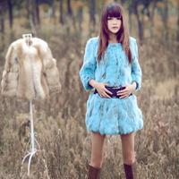 2013 long design rabbit fur coat women multicolor