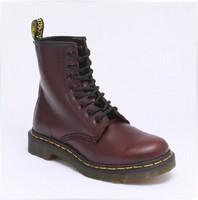 Free Shipping Dr. Original Martins 1460 Burgundy Genuine Leather Women Men Shoes Marten  Boots SIZE 35-45