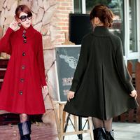 2013 autumn and winter long-sleeve plus size loose cloak wool coat medium-long women's woolen outerwear
