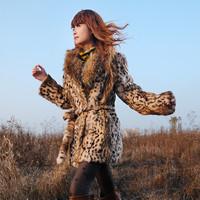 2013 fur classic leopard print large raccoon fur outerwear long design overcoat