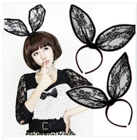 Fashion party women hairbands Black lace super big rabbit ear hair accessories Unique hair decorations Great hair wear 2015 new