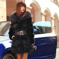 2014 fur coat rabbit fur overcoat medium-long large fur collar buck