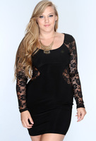 Plus Size!  Women Big Size Black Lace Good Spandex One-Piece Dress