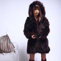 2014 winter raccoon fur women's long-sleeve medium-long outerwear
