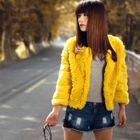 2013 winter rabbit fur coat regular style ladies buck wool women's outerwear